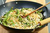 Rice noodles in spicy souche.
