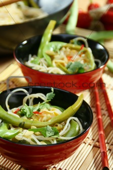 Rice noodles in spicy sauce.