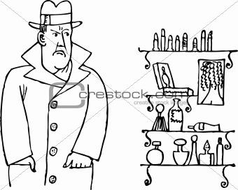 Man in cosmetic shop