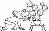Man watering cactus