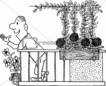 Image 4198332 man on the balcony from crestock stock photos for Balcony cartoon