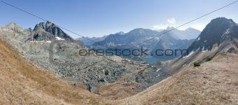 Alpine summer mountain panorama landscape