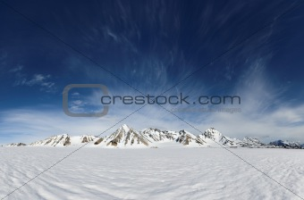 Typical Arctic winter landscape - Spitsbergen, Svalbard
