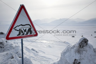 Roadsign with polar bear - Barentsburg, Svalbard