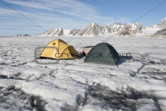 Tents on the glacier - Arctic expedition, Spitsbergen