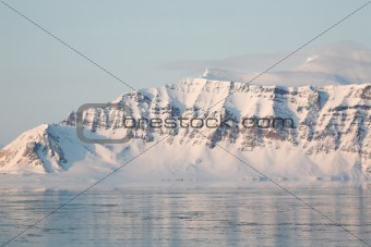 Arctic mountain landscape - mountains, glaciers, sea, ice