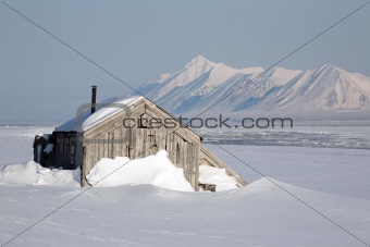 Very old wooden building in the winter