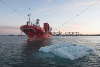 Ship in the Arctic fjord - Spitsbergen