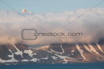 Arctic mountain landscape - mountains, glaciers, sea, ice