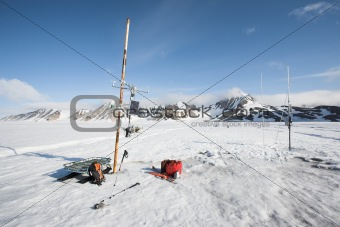 Small meteorological station on the glacier - Arctic, Svalbard