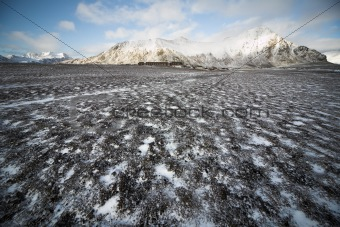 Typical Arctic autumn landscape - snow on tundra