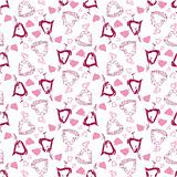 vector seamless pattern with hand-drawn hearts