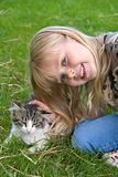petting a kitten