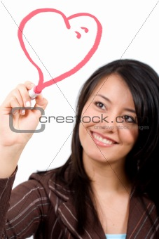 girl drawing a heart shape