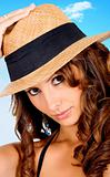 fashion woman portrait with a hat 