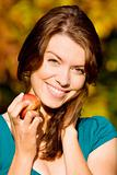 beautiful girl portrait with an apple