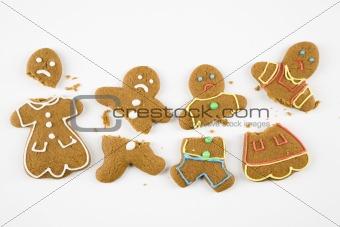 Broken gingerbread cookies.
