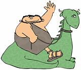 Caveman Riding A Dinosaur