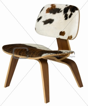 Plywood and cowhide chair