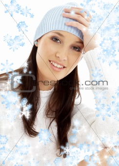 lovely brunette in winter hat with snowflakes #2