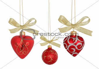 Christmas Ball / Red hearts and ball  (isolated  with clipping p