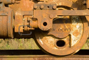 Old rusty steam train wheels