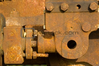 Old rusty steam train wheels