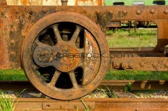 Old steam train wheels