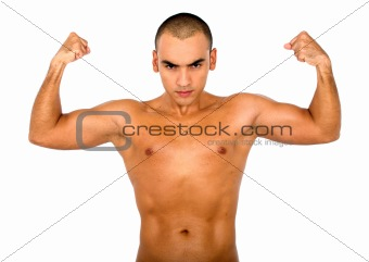 strong guy showing muscles