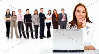 business team with woman on laptop
