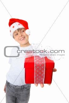 Boy with present looking sideways