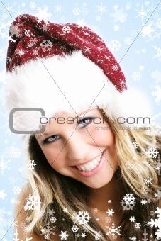 beautiful woman at christmas time