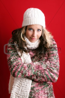 beautiful woman in winter