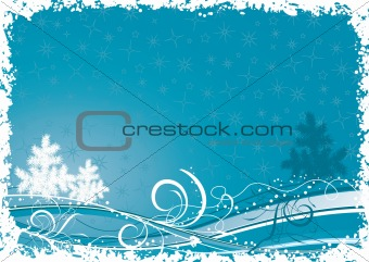 Grunge christmas tree background, vector