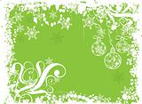 Christmas grunge background with baubles, vector