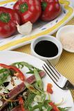 Beef Carpaccio; condiments, capsicum close crop