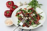 Beef Carpaccio; full sharp wide view with fork