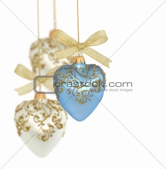Christmas balls on white background / copy space