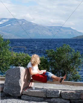 blonde girl with the book
