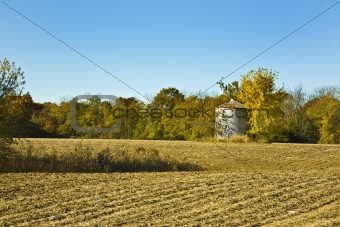 Autumn Field with Grain Silo