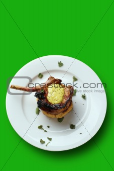 Pan fried pork cutlet; clipping path