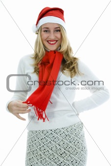 Beautiful woman with red scarf
