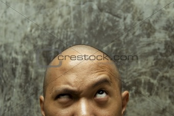 bald headed man confuse