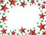Bright red and green Christmas stars frame - isolated