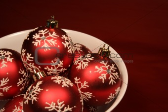 Bowl of Red Xmas Balls