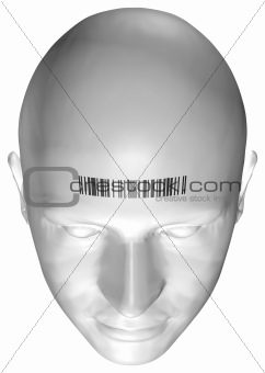 3D render of a human head with barcode stamp
