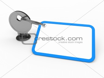 3d key attached blue