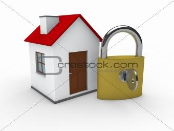 3d house home padlock