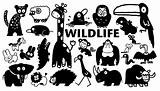 Wildlife cartoon icons in black