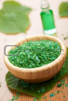 herbal salt and leaves